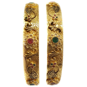 22k Gold Flower Shape Antique Kada Bangles MGA - GP032