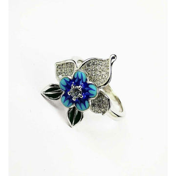 Designer 925 Silver Ladies Ring With Pretty Blue Flower