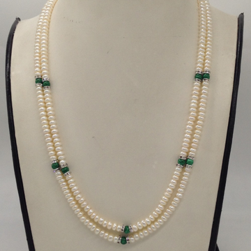 Freshwater white flat pearls 2 layers necklace wit...