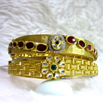 22k double side jadtar kundan bangles