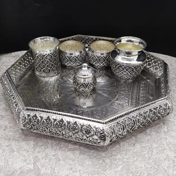 925 Pure Silver Antique Pooja Thali Set by Puran Ornaments