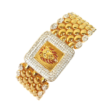 One gram gold forming lion diamond gents bracelet...