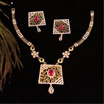 916 Gold Antique Pink Stone Necklace Set RJ-N01