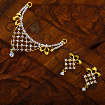 916 Gold Hallmark Stylish Design CZ Pendant Set