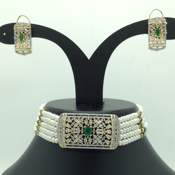 White and Green CZ Choker Set With 5 Line Flat Pea...