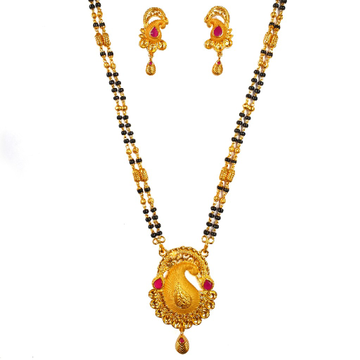One Gram Gold Forming Fancy Mangalsutra MGA - MSE0...