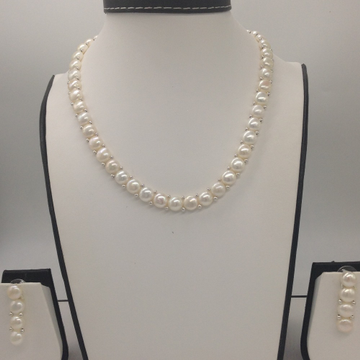 Freshwater WhiteButton Pearls 1Lines Necklace Set JPP1020