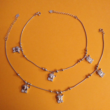 sterling silver Baby Elephant Moving charms anklet...