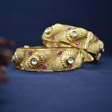 22KT gold Designer Kundan Bangle Kada For Wedding... by