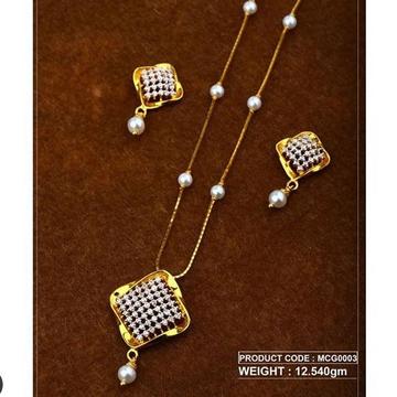 22Kt Gold Peral Chain Pset RH-Pset48