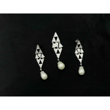 92.5 Sterling Silver Pearl Pendant Set Ms-3846 by