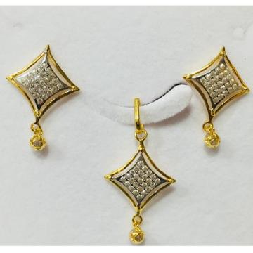 916 gold cz diamond shape pendant set nj-p012