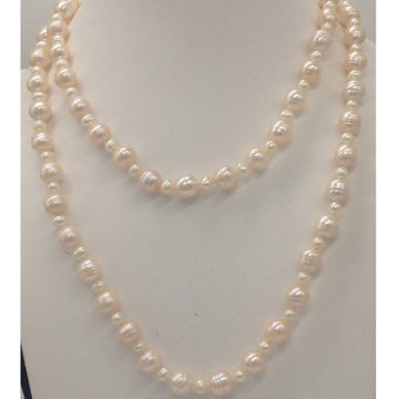Freshwater cream oval and potato pearls long knott...
