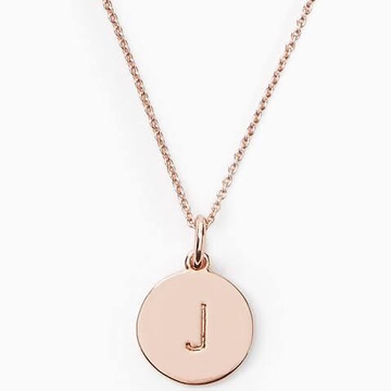 18kt, Rose Gold Chain With round Alphabet Pendant For Unisex JKC020