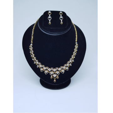 22kt gold classic diamond necklace set gk-n04