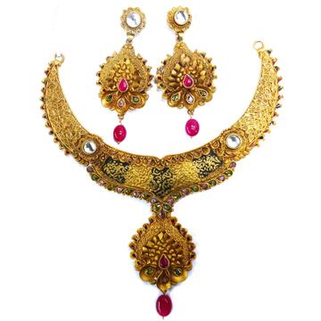 1 gram gold forming antique necklace set mga - gfn008
