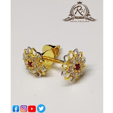 22 carat gold red stone daimond earrings RH-ER323