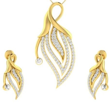 22 karat, 916 hall-marked, yellow gold descending leaf design with white american diamonds pendant with earrings set jkp012
