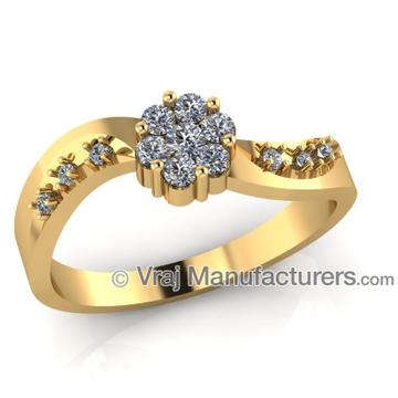 18K Yellow Gold Fancy Shaped Casting Diamond Ring For Women