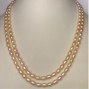 Freshwater orange oval pearls necklace 2 layers