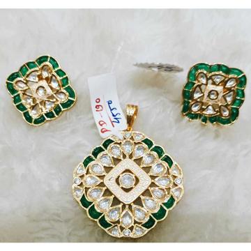 Square Design Bikaneri Kundan's White And Green Pendant And Earring Set1068