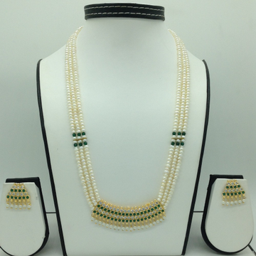 Green,White CZ and Pearls Pendent Set With Flat Mala JPS0604