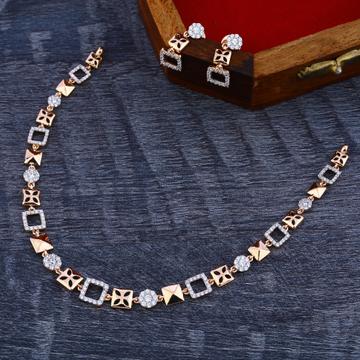 18KT Rose Gold Cz Stylish Women's Necklace Set RN167