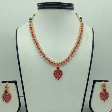 Red And White CZ Stones Necklace Set JNC0161