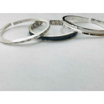 999 Sterling Silver Triangle Light Dark 2(Two) Tone Kada Bracelet Ms-2811