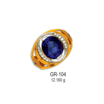 22KT-CZ-Gold-Attractive-Blue-Stone-Gents-Ring-GR-104