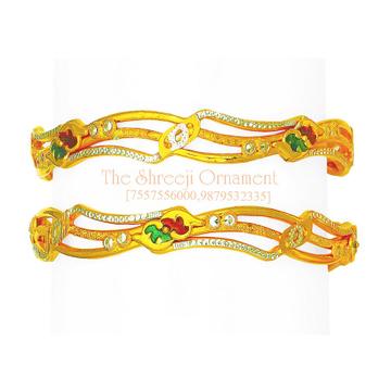 916 Gold Fancy Copper Kadali Bangle - 0007