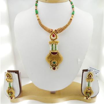 22KT Gold Antique Bridal Necklace Set RHJ-3399