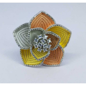 Tri colour 92.5 silver ring MG-R006