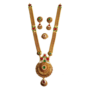 916 Gold Antique Rajwadi Necklace With Earrings & Ring MGA - GLS079