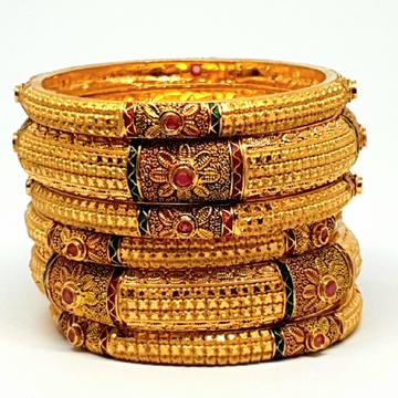 One gram gold forming kolkati bangles mga - bge0135