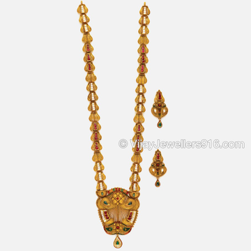 916 Indian Gold Bridal Long Necklace Set