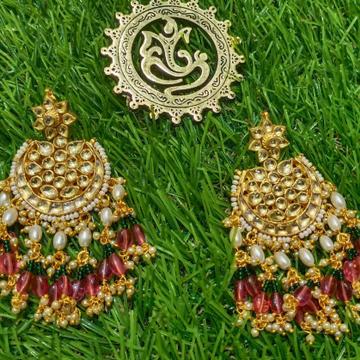 jadter chandbali with pink beads hanging