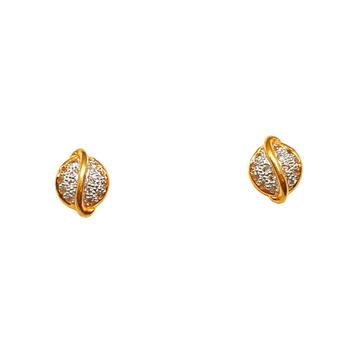 22K Gold Round Shaped Designer Earrings MGA - BTG0414