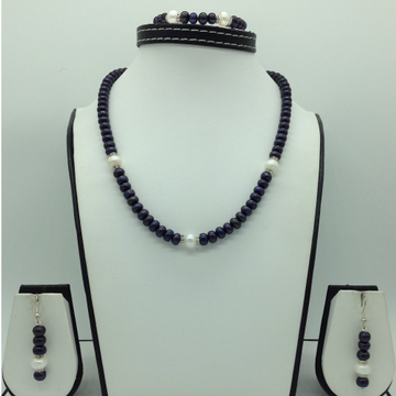 Freshwater Black and White Flat Pearls Necklace Set JPP1065