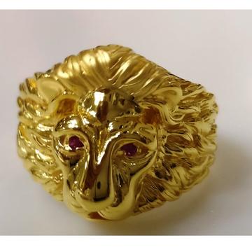 22kt gold plain casting lion face ring for men