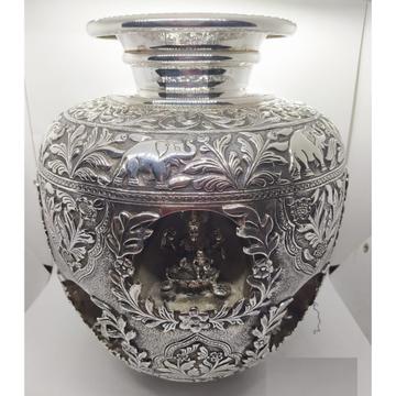 Pure silver Asthalakshmi vase in fine antique carv...