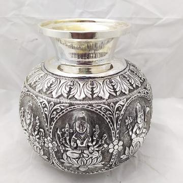 Pure silver 92.5  astalakshmi kalash in fine embos...