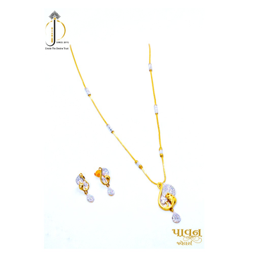 916 / 22KT Yellow gold dailyware chain pendant with earring for Ladies DKG0007