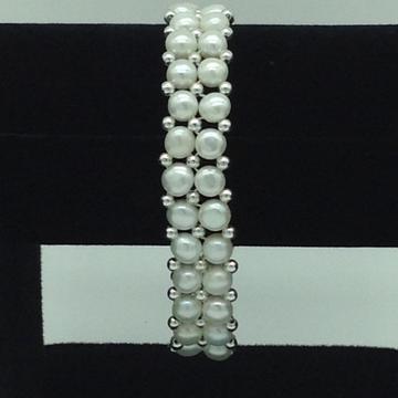 Whitebuttonpearls with white jaco balls 2layers braceletjbg0132