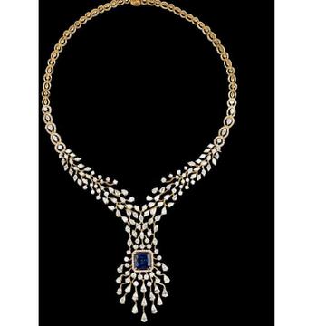 Diamonds and Blue Sapphires NecklaceJSJ0099