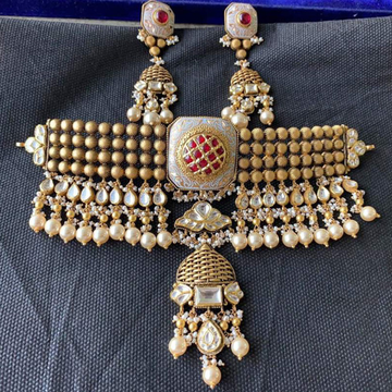 916 Gold Antique Jadtar Choker Set Form Rajkot