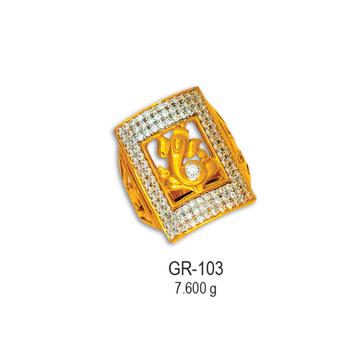 916-CZ-Gold-Fancy-Ganesh-Design-Gents-Ring-GR-103