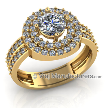 18K Yellow Casting Gold Halo Diamond Ring For Women