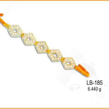 916 Gold Diamond Shaped Designer Ladies CZ Kada LB-185