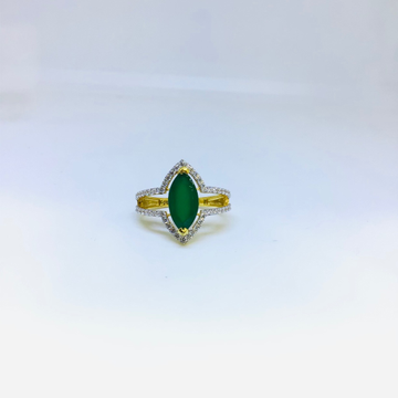 DESIGNING FANCY GREEN STONE RING by